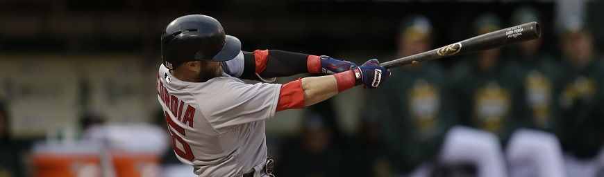 Boston Red Sox Dustin Pedroia swings against the Oakland Athletics in the first inning of a baseball game Tuesday, May 12, 2015, in Oakland, Calif. (AP Photo/Ben Margot)