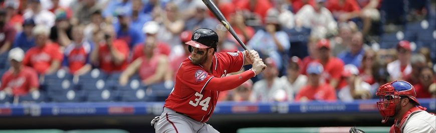 Washington Nationals' Bryce Harper in action during the first game of a baseball doubleheader against the Philadelphia Phillies, Sunday, June 28, 2015, in Philadelphia. (AP Photo/Matt Slocum)