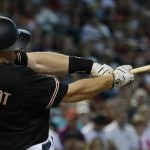 Arizona Diamondbacks Paul Goldschmidt hits against the Milwaukee Brewers during the first inning of a baseball game, Saturday, July 25, 2015, in Phoenix. (AP Photo/Matt York)