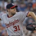 Washington Nationals starting pitcher Max Scherzer throws in the first inning of their baseball game against the San Francisco Giants Friday, Aug. 14, 2015, in San Francisco. (AP Photo/Eric Risberg)