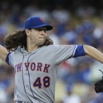 New York Mets starting pitcher Jacob deGrom works against a Los Angeles Dodgers batter during the first inning in Game 5 of baseball's National League Division Series Thursday, Oct. 15, 2015, in Los Angeles. (AP Photo/Alex Gallardo)