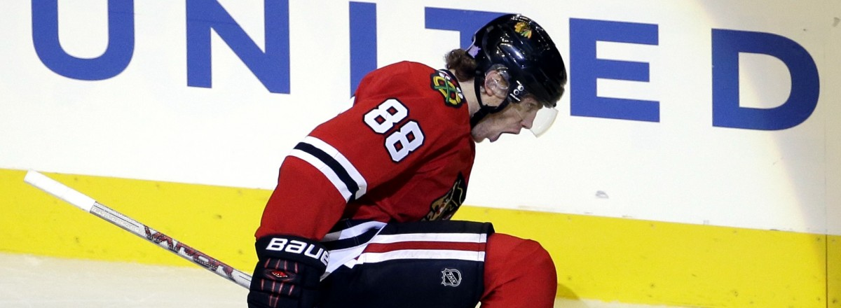 Chicago Blackhawks right wing Patrick Kane celebrates after scoring his goal during the third period of an NHL hockey game against the Edmonton Oiler,s Sunday, Nov. 8, 2015,  in Chicago. The Blackhawks won 4-2. (AP Photo/Nam Y. Huh)