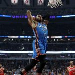 Oklahoma City Thunder guard Russell Westbrook (0) goes in for a dunk against the Chicago Bulls during the first half of an NBA basketball game in Chicago, on Thursday, Nov. 5, 2015. (AP Photo/Jeff Haynes)