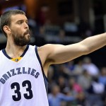 Memphis Grizzlies center Marc Gasol (33) gestures during the second half of an NBA basketball game against the Brooklyn Nets Saturday, Oct. 31, 2015, in Memphis, Tenn. The Grizzlies defeated the Nets 101-91. (AP Photo/Brandon Dill)