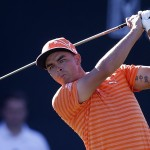 Rickie Fowler on the 16th hole during the final round of the Phoenix Open golf tournament, Sunday, Feb. 7, 2016, in Scottsdale, Ariz. (AP Photo/Rick Scuteri)