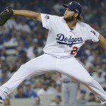 Los Angeles Dodgers starting pitcher Clayton Kershaw throws against the New York Mets during the first inning in Game 1 of baseball's National League Division Series, Friday, Oct. 9, 2015 in Los Angeles. (AP Photo/Gregory Bull)