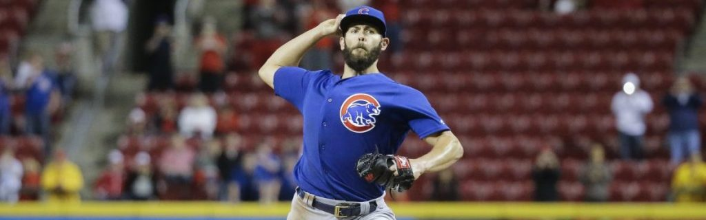 Chicago Cubs starting pitcher Jake Arrieta throws the final pitch of a no-hitter to Cincinnati Reds' Eugenio Suarez in a baseball game Thursday, April 21, 2016, in Cincinnati. The Cubs won 16-0. (AP Photo/John Minchillo)