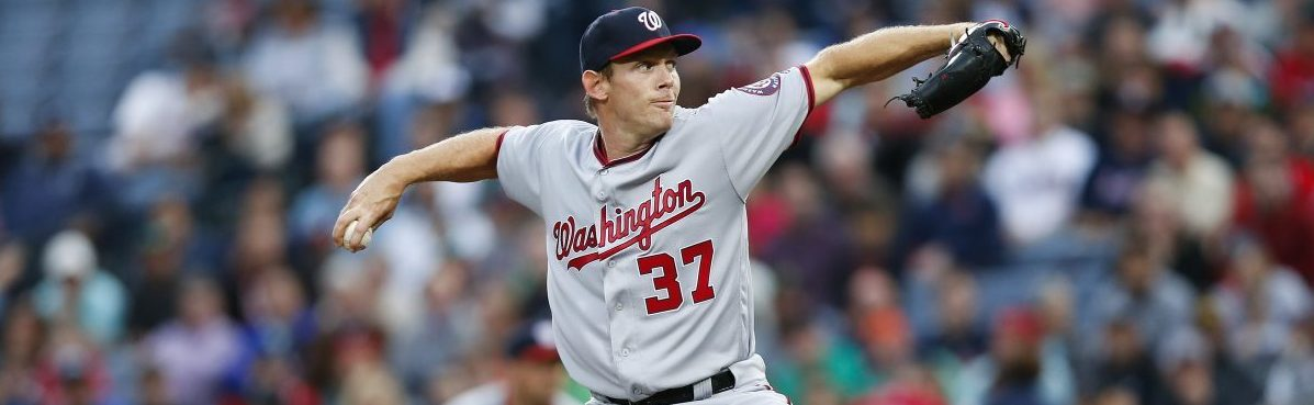 Washington Nationals starting pitcher Stephen Strasburg (37) works in the first inning of a baseball game against the Atlanta Braves Wednesday, April 6, 2016, in Atlanta. (AP Photo/John Bazemore)
