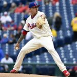 Philadelphia Phillies starting pitcher Vince Velasquez throws during the first inning of a baseball game against the Cleveland Indians, Sunday, May 1, 2016, in Philadelphia. (AP Photo/Derik Hamilton)