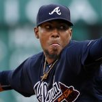 Atlanta Braves starting pitcher Julio Teheran warms up after taking the mound for the first inning of  a baseball game against the Pittsburgh Pirates in Pittsburgh, Wednesday, May 18, 2016. The Braves won 3-1. (AP Photo/Gene J. Puskar)