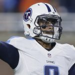 Tennessee Titans quarterback Marcus Mariota (8) passes the ball during the second half of an NFL football game against the Detroit Lions, Sunday, Sept. 18, 2016, in Detroit. (AP Photo/Duane Burleson)