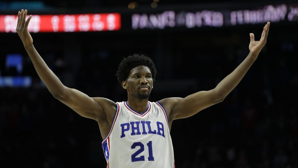 Philadelphia 76ers' Joel Embiid in action during an NBA basketball game against the Miami Heat, Monday, Nov. 21, 2016, in Philadelphia. (AP Photo/Matt Slocum)