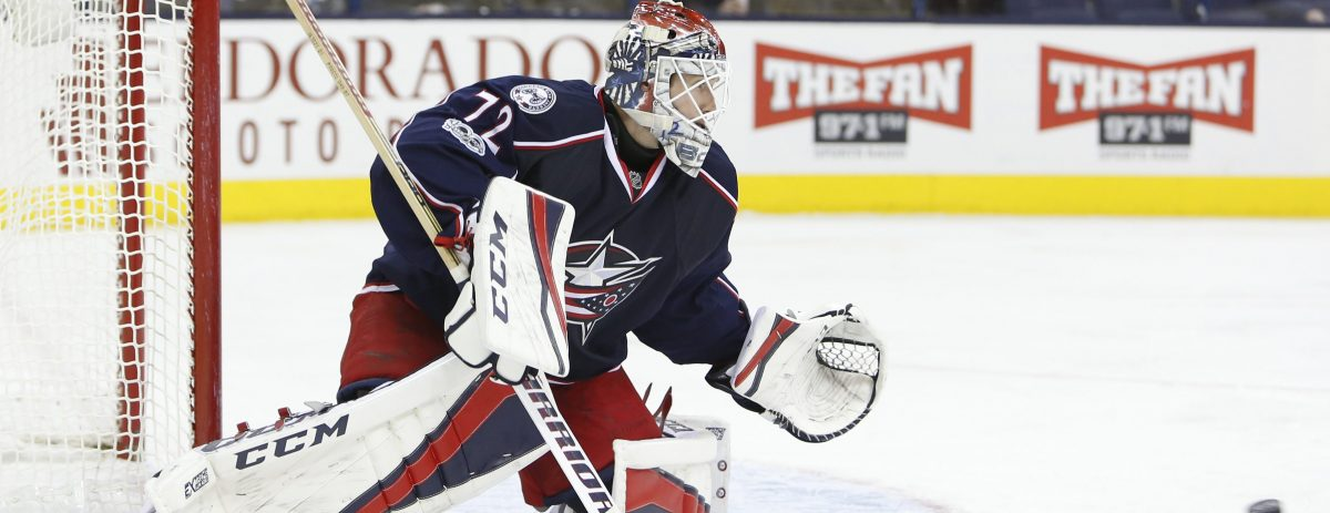 Columbus Blue Jackets' Sergei Bobrovsky, of Russia, plays against the Philadelphia Flyers during an NHL hockey game Sunday, Jan. 8, 2017, in Columbus, Ohio. (AP Photo/Jay LaPrete)