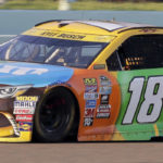 Kyle Busch drives during the NASCAR Sprint Cup auto race, Sunday, Nov. 20, 2016, in Homestead, Fla. (AP Photo/Terry Renna)