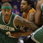 Boston Celtics guard Isaiah Thomas (4) in the first quarter during an NBA basketball game against the Phoenix Suns, Sunday, March 5, 2017, in Phoenix. (AP Photo/Rick Scuteri)