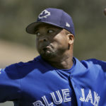 Toronto Blue Jays starting pitcher Francisco Liriano delivers to the Minnesota Twins during the first inning of a spring training baseball game Monday, March 20, 2017, in Dunedin, Fla. (AP Photo/Chris O'Meara)