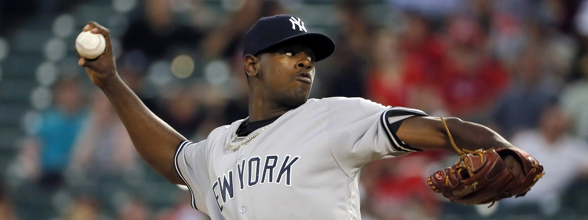 New York Yankees starting pitcher Luis Severino throws to the Texas Rangers during the first inning of a baseball game, Tuesday, April 26, 2016, in Arlington, Texas. (AP Photo/Tony Gutierrez)